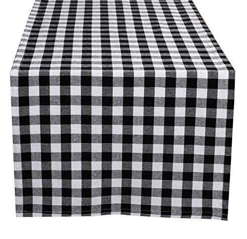 Glamburg 100% Cotton Table Runner 2-Pack 16x90 Gingham Check Plaid for Family Dinners or Gatherings, Indoor or Outdoor Parties & Everyday Use -Black (Table Gathering Outdoor)