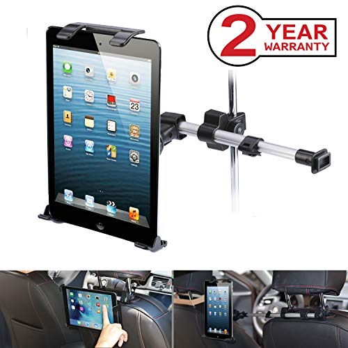 Neetto Car Headrest Tablet Mount, Backseat Holder for Apple iPad Pro Mini Air, Samsung Galaxy Tab, and 7 to 10.5 Devices, 360° Rotation, Support Two Positions with Extendable Arm