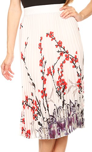 Sakkas 17253 - Caasi Midi Pleated Light Crepe Skirt with Print and Elastic Waist - Ivory/red - OS
