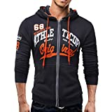 kaifongfu Mens Long Sleeve Hoodie Men Sweatshirt Jacket Coat Top(Dark Gray,2XL)
