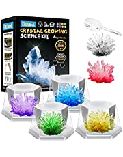 Sillbird Crystal Growing Kit for Kids - 6 Vibrant Colored Crystal with Display Cases, DIY STEM Educational Projects Science Experiments Lab Specimens Toys, Gift Guide for Boys Girls Aged 4 5 6 7 8-12