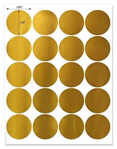 Shiny Gold Foil - Shiny Gold Foil 2 inch Diameter Circle Labels for Laser Printers with Downloadable Template and Printing Instructions, 5 Sheets, 100 Labels (JGF2)
