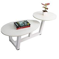 TUORUI Double Coffee Table,Mesa de Centro Doble, Mesa de sofá con Dos Niveles, Muebles de Sala de Estar, Mesa de Extremo Simple, para apartamento pequeño, Redondo + en Forma de Gota, Material Mixto
