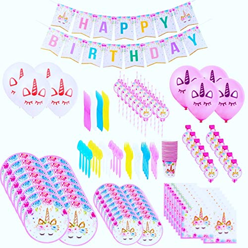 Unicorn Party Supplies & Decorations - Disposable Tableware Set With Happy Birthday Banner, Balloons, Straws, Blowers, 9 Oz Cups, White & Pink Unicorn Balloons and More – 169pcs, Serves 16 People (Birthday Party Set Decorations)