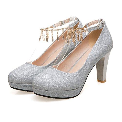 Summer Heel Metal Chain Women's Silver High Block Court Bright Tassel CHNHIRA Shoes Z580AA