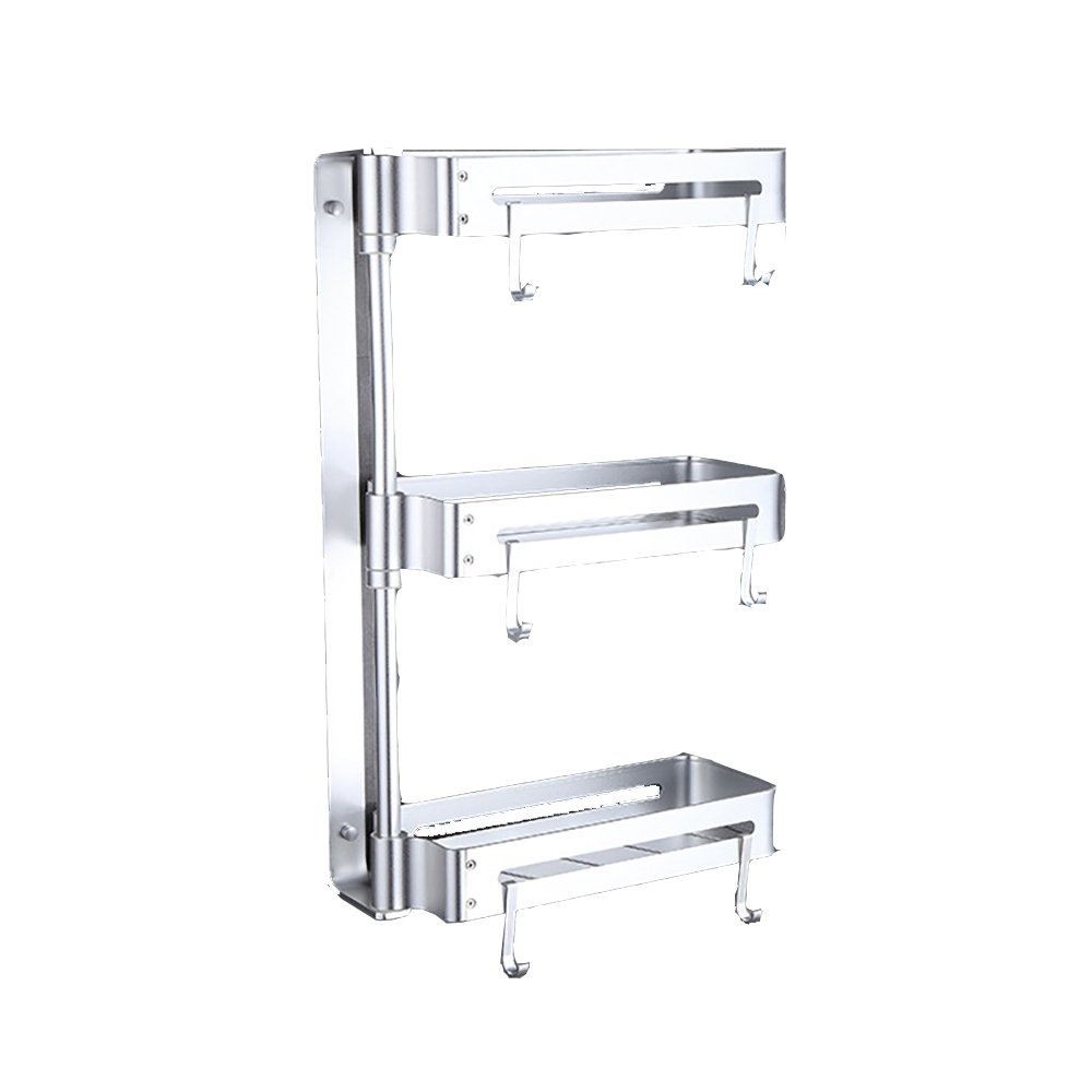 XiYunHan Kitchen Shelf 3-Tier Bathroom Shelf Shower Cosmetic Shelf Square Modern Style Aluminum Basket Shower Organizer Wall Mounted Storage Shelf