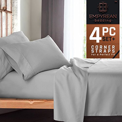 Premium 4-Piece Bed Sheet & Pillow Case Set – Luxurious & Soft Twin XL (Single) Size Linen, Extra Deep Pocket Super Fit Fitted Silver Light Gray Sheets 4 Piece Twin Bedroom Set