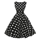 Sexy Dress Smdoxi Vintage 1950s Rockabilly Polka Dots Audrey Dress Retro Cocktail Dress (Black, L)