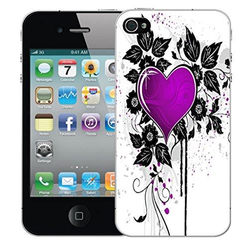 Mobile Case Mate iPhone 4 clip on Dur Coque couverture case cover Pare-chocs - violet cupid heart Motif avec Stylet
