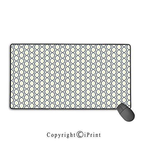 """Office and Home Waterproof Coated Mouse pad,Abstract,Vertical Curvy Lines Form Elliptic Shapes Fishing Net Lattice Pattern,Light Yellow Navy Blue, Non-Slip Rubber Base,9.8""""x11.8""""inch"""