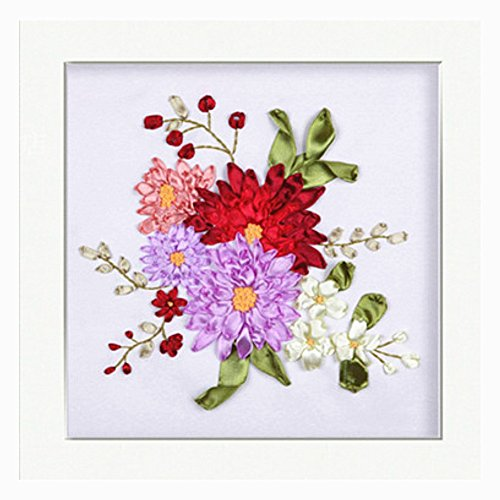 Egoshop Silk Ribbon Embroidery Spring Flower blooming Kit Eight Couplet Painting X5003A DIY Wall Decor Stamp Silk Ribbon Embroidery Kit With English Instruction (No Frame)