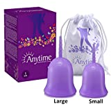 Anytime Menstrual Cups Set of 2 with Carry Bags - Feminine Hygiene Protection - Small & Large - Natural Alternative for Tampons and Sanitary Napkins