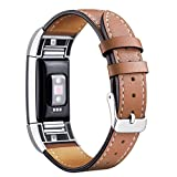 Mornex Compatible with Fitbit Charge 2 Bands Leather Straps, Adjustable Genuine Classic Replacement Wristband for Charge 2 Fitness Accessories with Metal Connectors