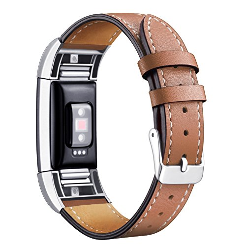 Mornex For Fitbit Charge 2 Band Leather Straps, Adjustable Genuine Classic Replacement Wristband for Charge 2 Fitness Accessories with Metal Connectors