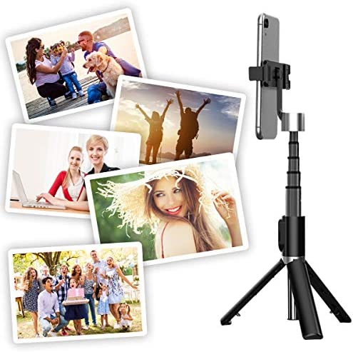 Selfie Stick Tripod, All in 1 Portable Extendable Selfie Stick with Bluetooth Remote & Fill Light