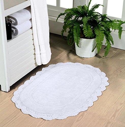 WARISI - Oval Crochet Collection - Designer, Plush Cotton Rug (20x32 inches, White) - Collection Outdoor Floor