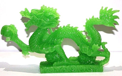 LARGE JADE COLOR Chinese Feng Shui Dragon Figurine Statue for Luck & Success 8.5 inch LONG (Statue Large Jade)