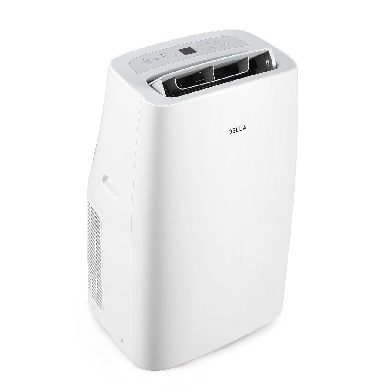 DELLA 12,000 BTU Cooling Portable Air Conditioner Quiet Cool Fan Dehumidifier LCD for Rooms Up To 400 Sq. Ft. Remote Control, White