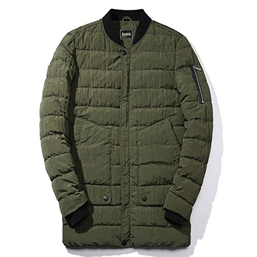 BENNINGCO Men's Long Thickened Stand Collar Packable Cotton-padded Jacket(Green,3XL)