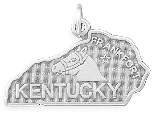 Oxidized Sterling Silver Charm, State of Kentucky, 1 inch