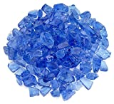 American Fireglass Light Blue Recycled Fire Pit Glass - Medium (18-28Mm), 55 lb. Bag