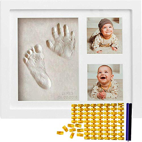 (Co Little Baby Handprint & Footprint Kit (Date & Name Stamp) Clay Hand Print Picture Frame for Newborn - Best New Mom Gift - Foot Impression Photo Keepsake for Girl & Boy - White Feet Imprint Mold)
