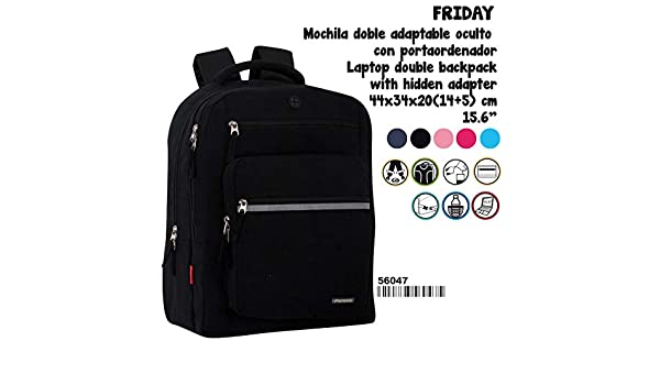 Amazon.com : Perona Friday Black Double Adaptable Backpack 44cm : Office Products