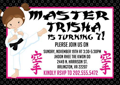 Girls Karate Birthday Party Invitations, Girls Birthday Paty Supplies, Karate Party Decor ()
