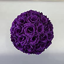 12 inch Artificial Rose Satin Pomander Kissing Balls for Home Wall Wedding Party Ceremony Decoration ,Purple