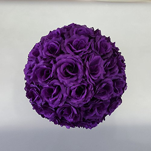 12 inch Artificial Rose Satin Pomander Kissing Balls for Home Wall Wedding Party Ceremony Decoration ,Purple ()