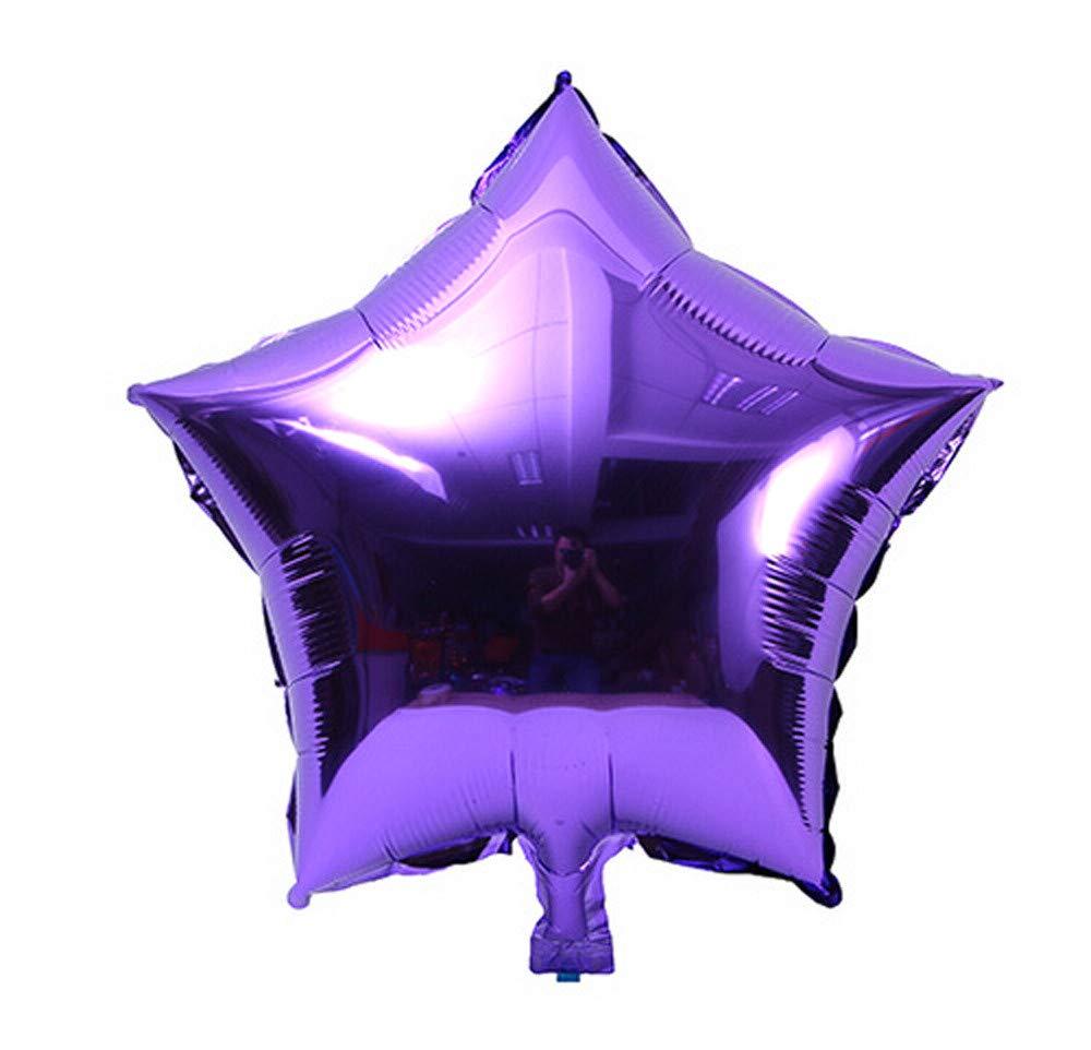 Jeeke 5 Pcs 18 inch Foil Star Balloons Decor for Wedding Party Baby Shower Birthday Decor (Purple, 5 Pcs/Set)