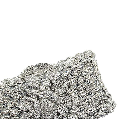 Fashion Evening Clutch Wedding Women Bridal Bag Pearl Purse Silver Prom Crystal 8WqWI1F