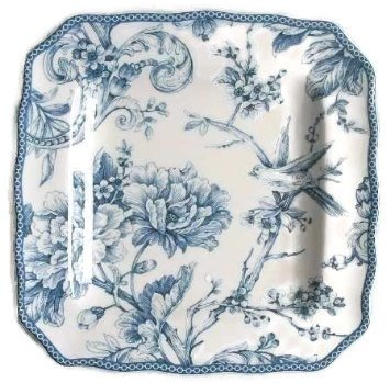Blue Square Accent Plate (222 Fifth Adelaide Blue & White Salad Plates, Set of 4, Square)