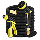 Garden Hose 100ft Expandable Water Hose Bonus 9-Pattern Sprayer Nozzle, High Pressure Water Gun, 3/4 Solid Brass Fittings, Hose Holder&Bag, Flexible Expanding Hose Lawn Garden Watering, Car Washing