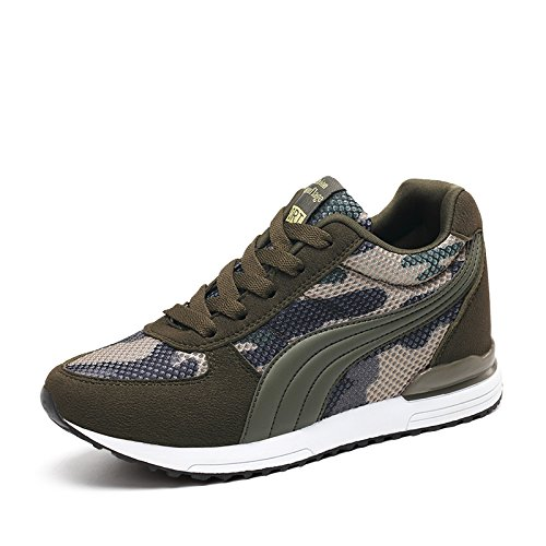 XXHC Women's Camouflage Mesh High-Heeled Sneakers Army Green Height Increase ()