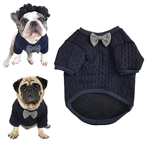 Meioro Dog Sweater Pet Bow Tie Clothes Pet Clothing Jacket Dogs Clothes Cute Warm Dog Jumpers Cat Clothes Puppy French Bulldog Clothes Pug Clothe (L, Blue)