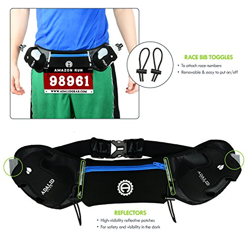Hydration Belt for Running Includes Accessories and Two 10 Ounce BPA Free and Leak Proof Water Bottles : A Bounce Free & Lightweight Fuel Gear