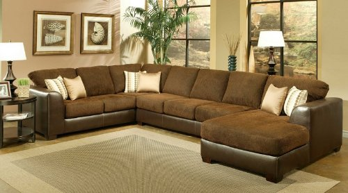 Amazon.com: Sectional Sofa Couch Chaise With Chocolate Cushion Seat And  Back: Kitchen U0026 Dining