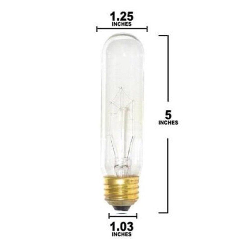 Pack Of 6 40 Watt T10 Clear Tubular Incandescent Medium (E26) Base 120-Volt Light Bulb by Sterl Lighting (Image #3)