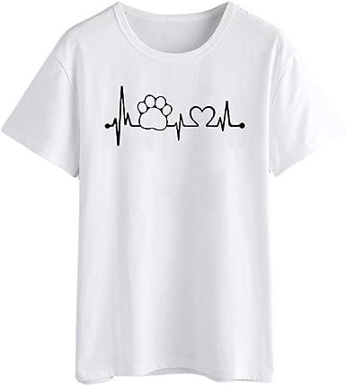FAMILIZO Camisetas Mujer Manga Corta Camisetas Mujer Tallas Grandes Camisetas Mujer Verano Blusa Mujer Sport Tops Mujer Verano Casual Blusa Blanco: Amazon.es: Ropa y accesorios
