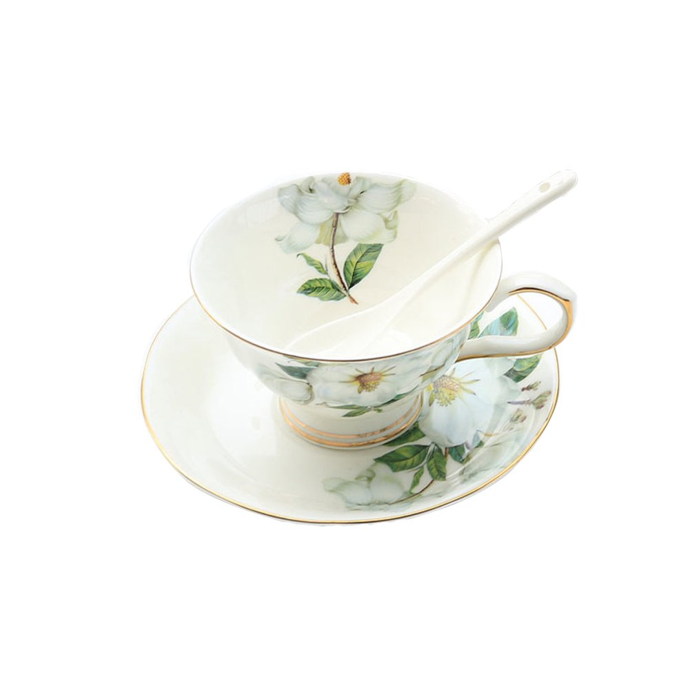 qwert Teacup,Coffee cup set Porcelain cup Household Hotels Simple latte cup 1 cups, 1 discs. Capacity 250ml-A