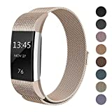 """SWEES Metal Bands for Fitbit Charge 2, Replacement Small (5.5"""" - 8.5"""") Stainless Steel Metal Magnetic Wristband Watch Band for Women, Black, Rose Gold, Silver, Colorful"""