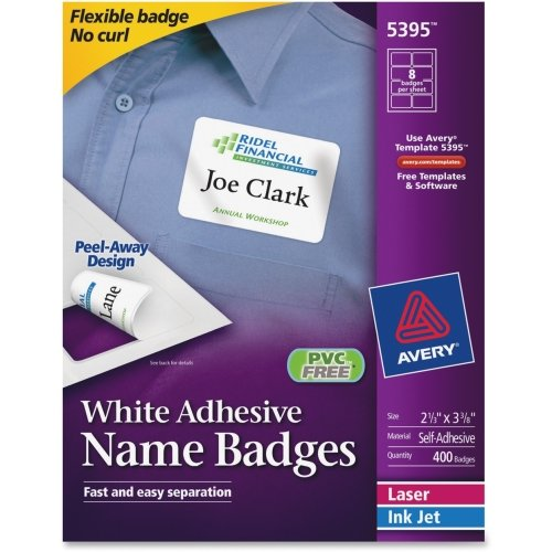 Avery Laser Name Badge (Avery Name Badge Label - 2.33 Width X 3.37 Length - 400 / Box - Rectangle - 8/Sheet - Paper - Laser, Inkjet - White Product Category: Supplies/Labels)