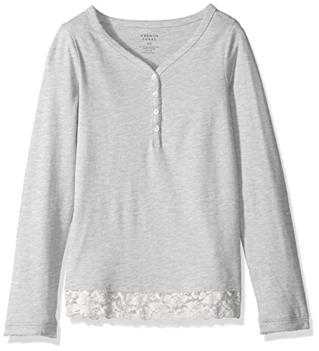 French Toast Little Girls' Jersey Henley with Lace Trim, Heather Grey, 5