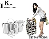 King International 100% Stainless Steel Plain Bar Set | Bar Tools | Bar Accessories Set of 6 Pieces | Cocktail Shaker | Ice Bucket | Ice Tong | Wine Cooler | Wine Bucket | Peg Measure - Ideal for Part