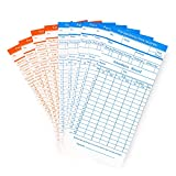 Flexzion 100 Pack Time Cards Thermal Print Monthly Timesheet, 6 Column 2-Sided Orange/Blue Employee Attendance Card for Time Punch Clock