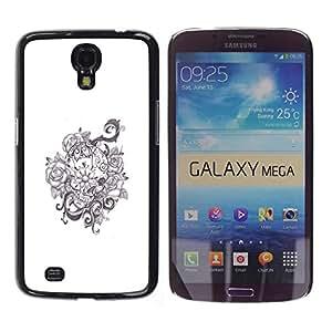 GOODTHINGS Funda Imagen Diseño Carcasa Tapa Trasera Negro Cover Skin Case para Samsung Galaxy Mega 6.3 I9200 SGH-i527 - guirnalda floral flores blancas negras