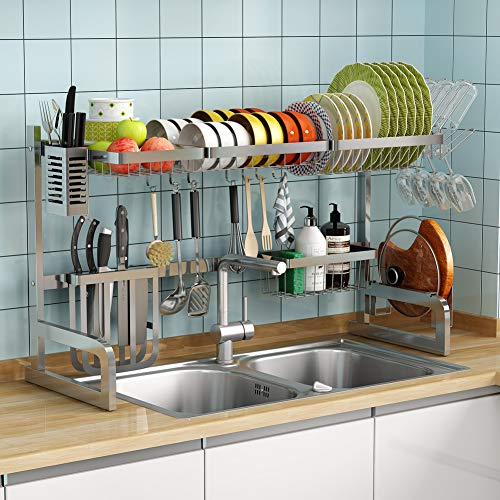 Over The Sink Dish Drying Rack -2 Tier Adjustable