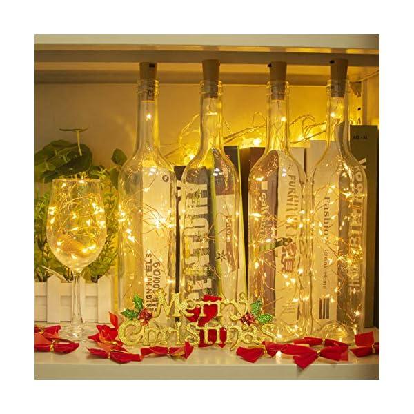 Luci per Bottiglia (9 pezzi), Litogo Luci Tappo LED a Batteria per Bottiglie, Filo di Rame Led Decorative Stringa Luci da Interni e Esterni per Festa, Giardino, Natalizie, Matrimonio (Bianco Caldo) 6 spesavip