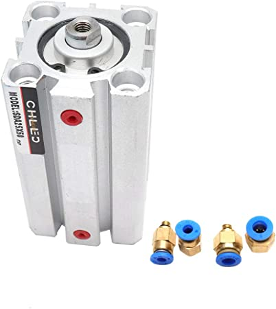 Baomain Air Cylinder 50mm Bore 50mm Stroke Double Action Thin